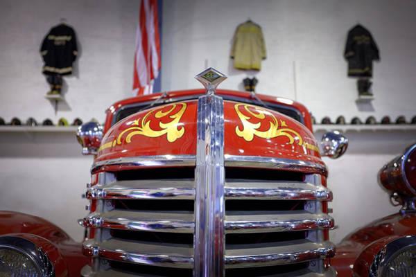 Photograph - Vintage Fire Engine Hood by Chris Bordeleau