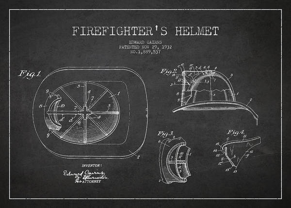 Intellectual Property Wall Art - Digital Art - Vintage Firefighter Helmet Patent Drawing From 1932 by Aged Pixel
