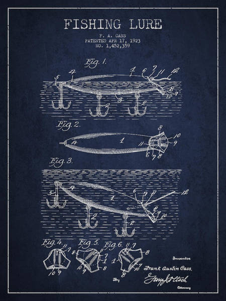 Antique Fishing Lures Wall Art - Drawing - Vintage Fishing Lure Patent Drawing From 1923 by Aged Pixel