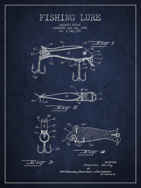 Wall Art - Digital Art - Vintage Fishing Lure Patent Drawing From 1956 by Aged Pixel