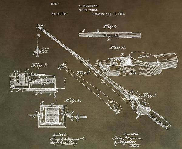 Fishing Pole Digital Art - Vintage Fishing Tackle Patent by Dan Sproul