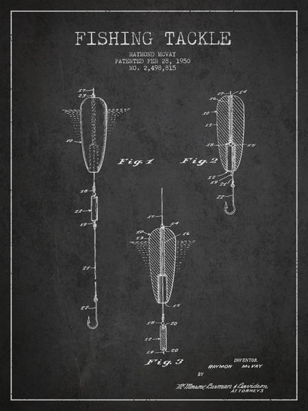 Wall Art - Digital Art - Vintage Fishing Tackle Patent Drawing From 1950 by Aged Pixel