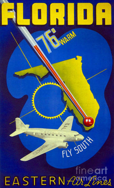 Vintage Airplane Drawing - Vintage Florida Travel Poster by Jon Neidert