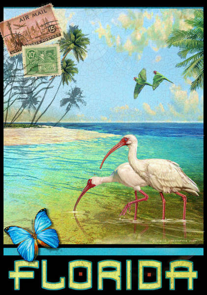 Idealistic Wall Art - Painting - Vintage Florida Travel Poster With Ibis by R christopher Vest