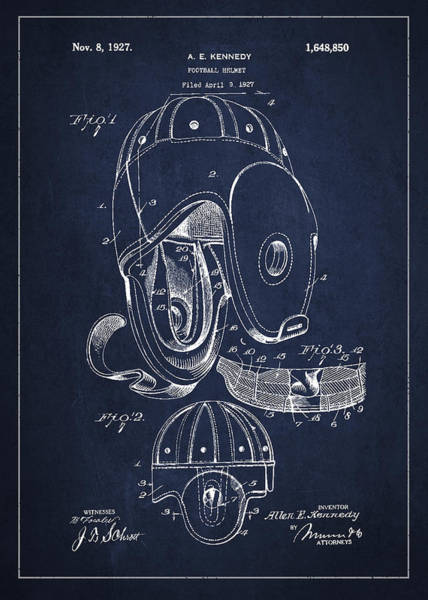 American Football Digital Art - Vintage Football Helment Patent Drawing From 1927 by Aged Pixel