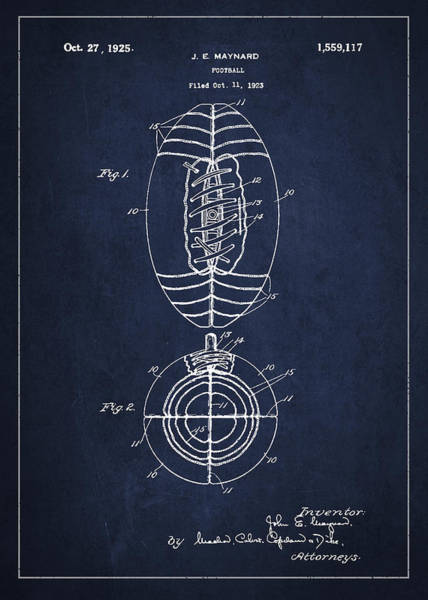 American Football Digital Art - Vintage Football Patent Drawing From 1923 by Aged Pixel