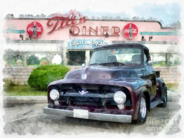 Photograph - Vintage Ford Pickup At The Diner by Edward Fielding