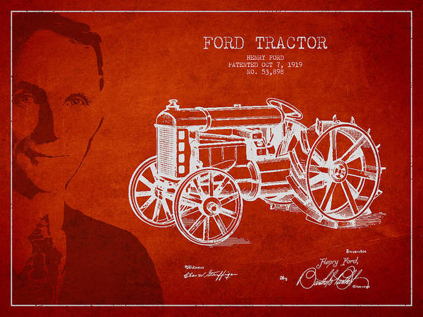 Farming Digital Art - Vintage Ford Tractor Patent Drawing From 1919 by Aged Pixel