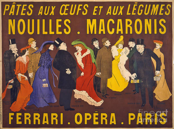 Photograph - Vintage French Paris Opera Pasta Poster by Edward Fielding