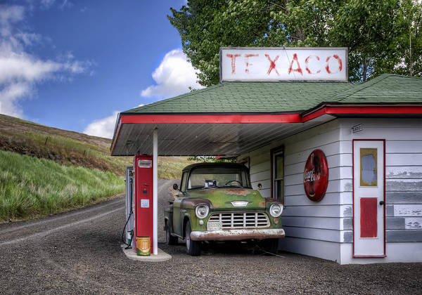 Old Chevy Photograph - Vintage Gas Station - Chevy Pick-up by Nikolyn McDonald