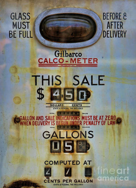 Wall Art - Photograph - Vintage Gasoline Pump  by Lee Dos Santos