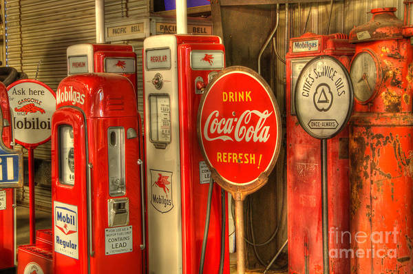 Wall Art - Photograph - Vintage Gasoline Pumps With Coca Cola Sign by Bob Christopher
