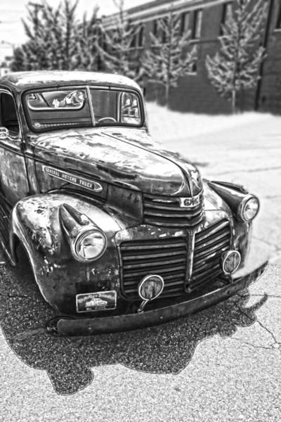 Photograph - Vintage Gm Truck Frontal Hdr-bw by Lesa Fine