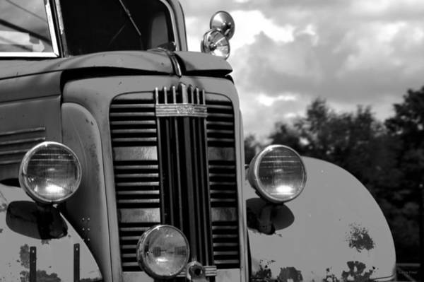 Photograph - Vintage Gmc Fire Truck Bw by Lesa Fine