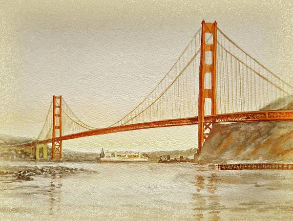 Golden Gate Painting - Vintage Golden Gate Bridge by Irina Sztukowski