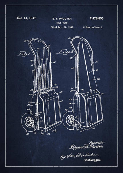 Pga Digital Art - Vintage Golf Cart Drawing From 1943 by Aged Pixel