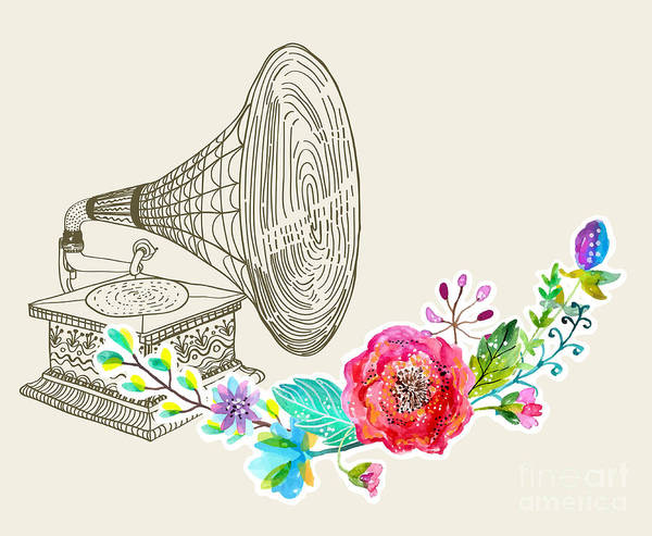 Wall Art - Digital Art - Vintage Gramophone, Record Player by Jane mori