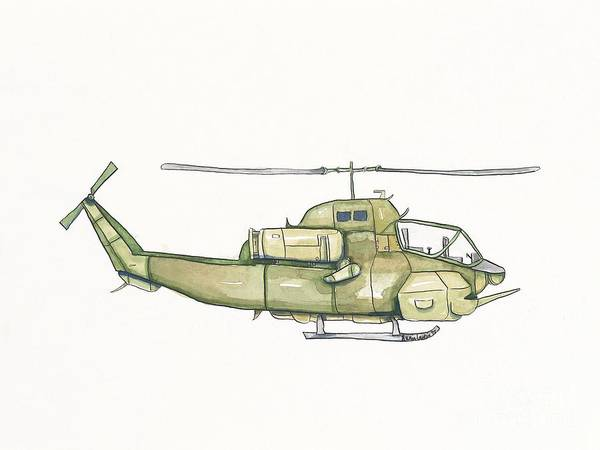 Helicopter Painting - Vintage Green Helicopter by Annie Laurie