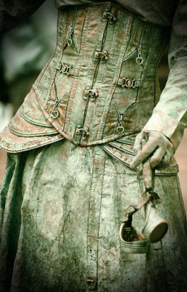 Photograph - Close Up Of Detailed Steampunk Dress Hand Holding A Pair Of Googles by Jaroslaw Blaminsky