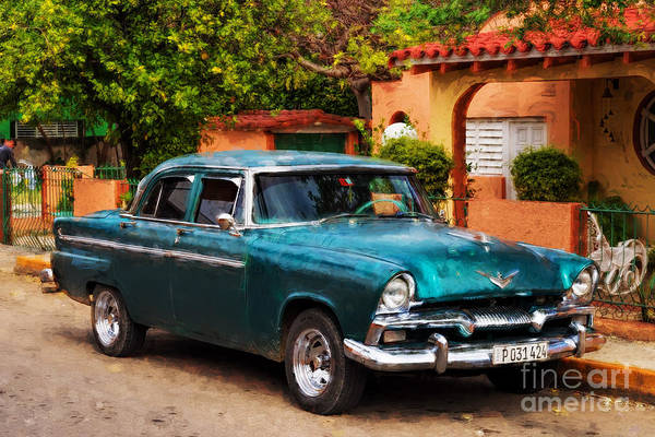 Photograph - Vintage Green Plymouth - Painterly by Les Palenik