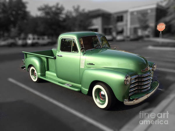Photograph - Vintage Green Chevy 3100 Truck by Dale Powell
