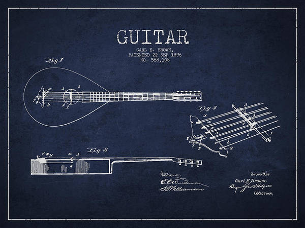 Wall Art - Drawing - Vintage Guitar Patent Drawing From 1896 by Aged Pixel