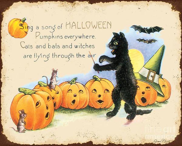 Wall Art - Digital Art - Vintage Halloween-a by Jean Plout