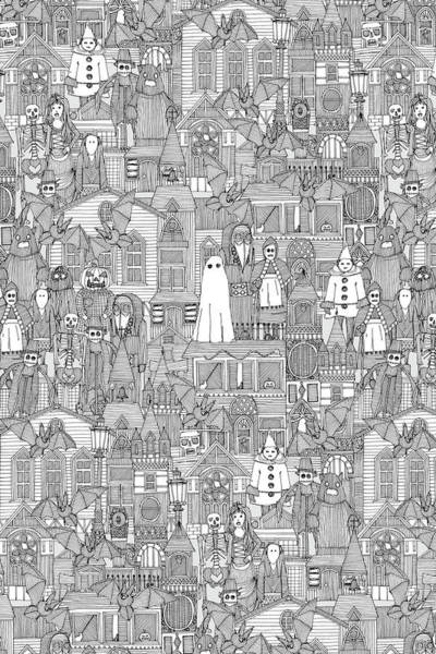 Wall Art - Painting - Vintage Halloween Black White by MGL Meiklejohn Graphics Licensing