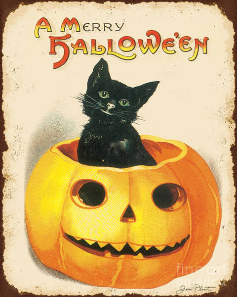 Wall Art - Painting - Vintage Halloween-k by Jean Plout