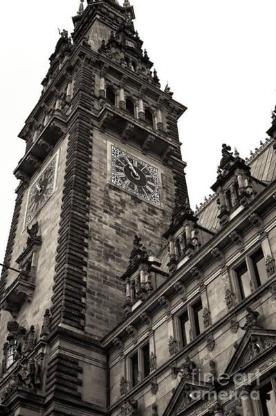 Rathaus Photograph - Vintage Hamburg Rathaus Tower by John Rizzuto