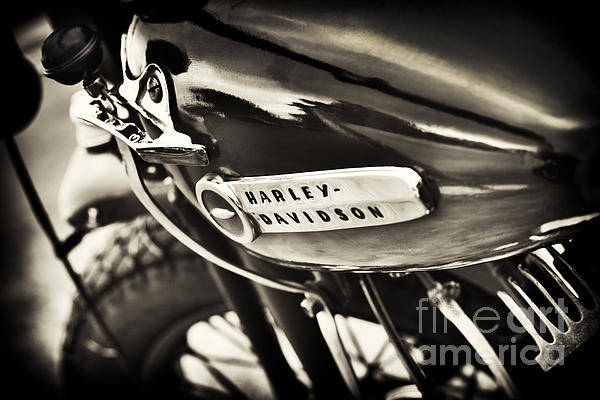 Harley Davidson Black And White Wall Art - Photograph - Vintage Harley Davidson Sepia  by Tim Gainey