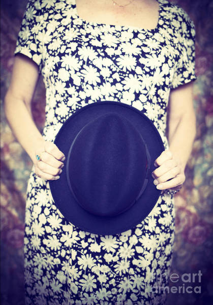 Vintage Hat Flower Dress Woman Art Print