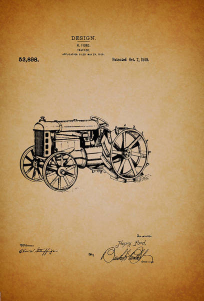 Old Tractor Drawing - Vintage Henry Ford Tractor Patent by Mountain Dreams