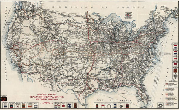 Highway Drawing - Vintage Highway Map Of The United States By The American Automobile Association - 1918 by Blue Monocle