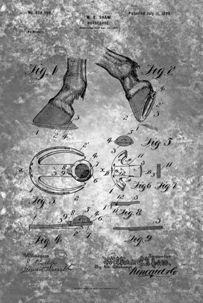 Painting - Vintage Horseshoe Patent From 1899 by Celestial Images