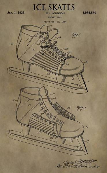 Blades Mixed Media - Vintage Ice Skates Patent by Dan Sproul
