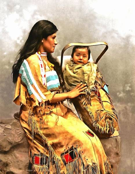 Wall Art - Painting - Ojibwast Equa And Papoose by Vintage Image Collection