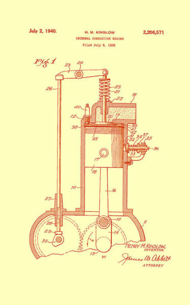 Old Truck Drawing - Vintage Internal Combustion Engine Patent 1940 by Mountain Dreams
