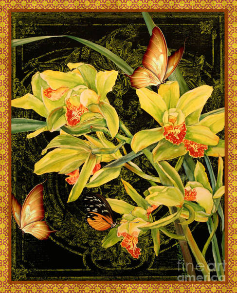 Acrylic Mixed Media - Vintage Iris And Butterflies by Jean Plout