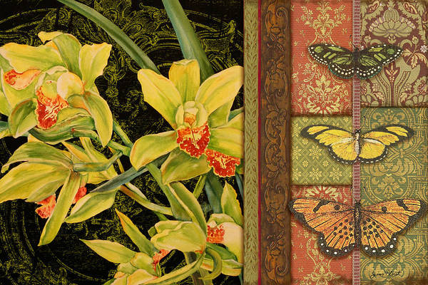Emboss Wall Art - Painting - Vintage Iris Tapestry by Jean Plout