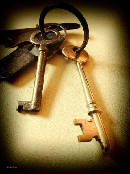 Photograph - Vintage Keys Antiqued Vignette by Lesa Fine