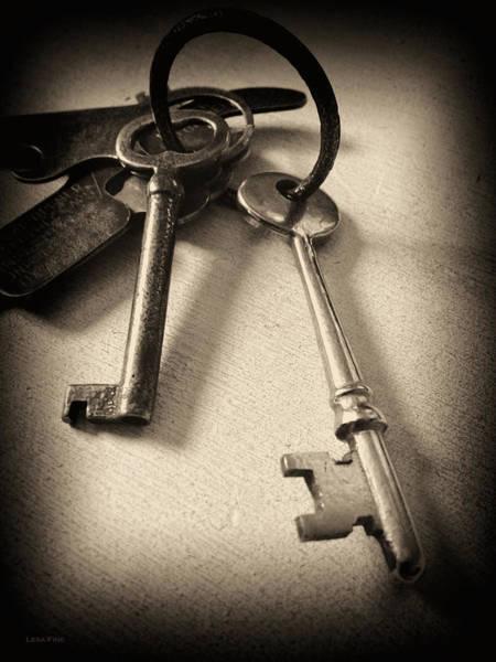 Photograph - Vintage Keys Bw Vingette by Lesa Fine