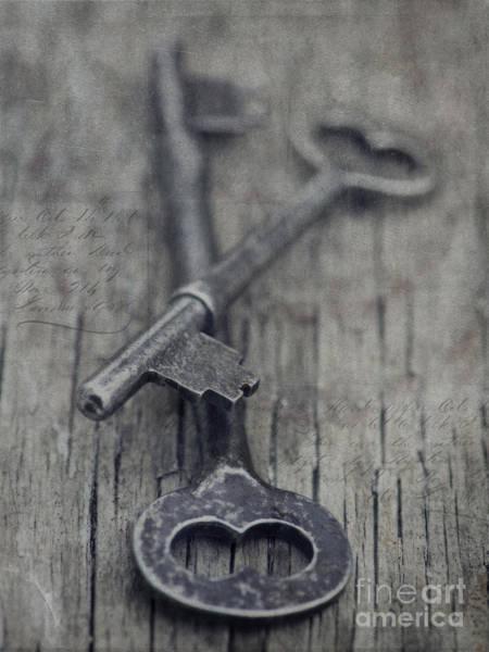 Grey Photograph - Vintage Keys by Priska Wettstein