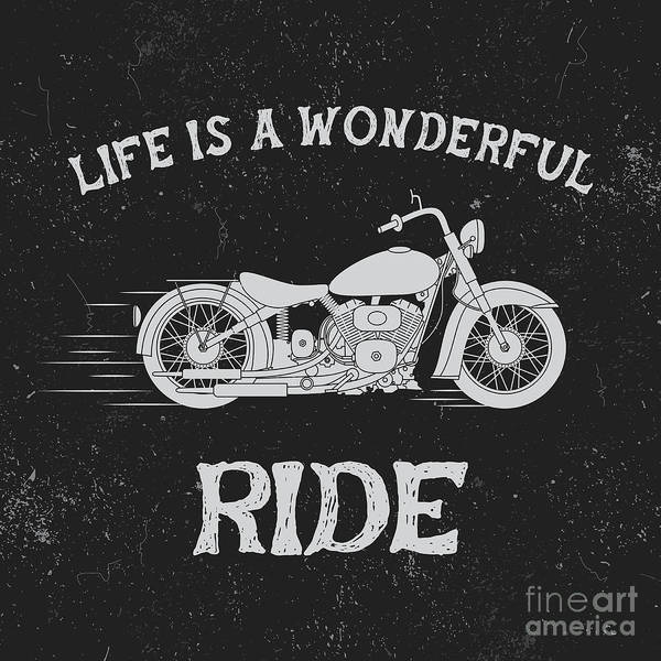 Ride Digital Art - Vintage Label With Motorcycle .vintage by Dimonika