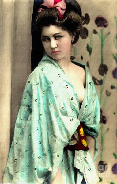 Photograph - Vintage Lady In Kimono 7x11 by Lesa Fine