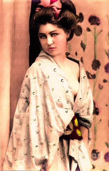 Photograph - Vintage Lady In Kimono Peach by Lesa Fine