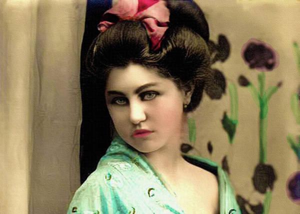 Photograph - Vintage Lady In Kimono Portrait by Lesa Fine