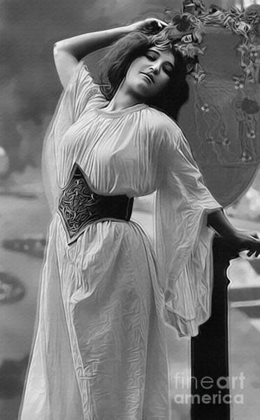 Photograph - Vintage Lady With Urn Bw by Lesa Fine
