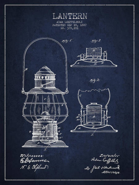 Candles Digital Art - Vintage Lantern Patent Drawing From 1887 by Aged Pixel