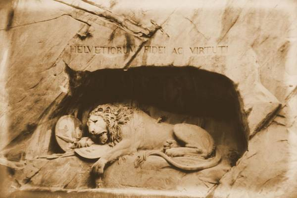 Virtue Photograph - Vintage Lion Of Lucerne by Dan Sproul